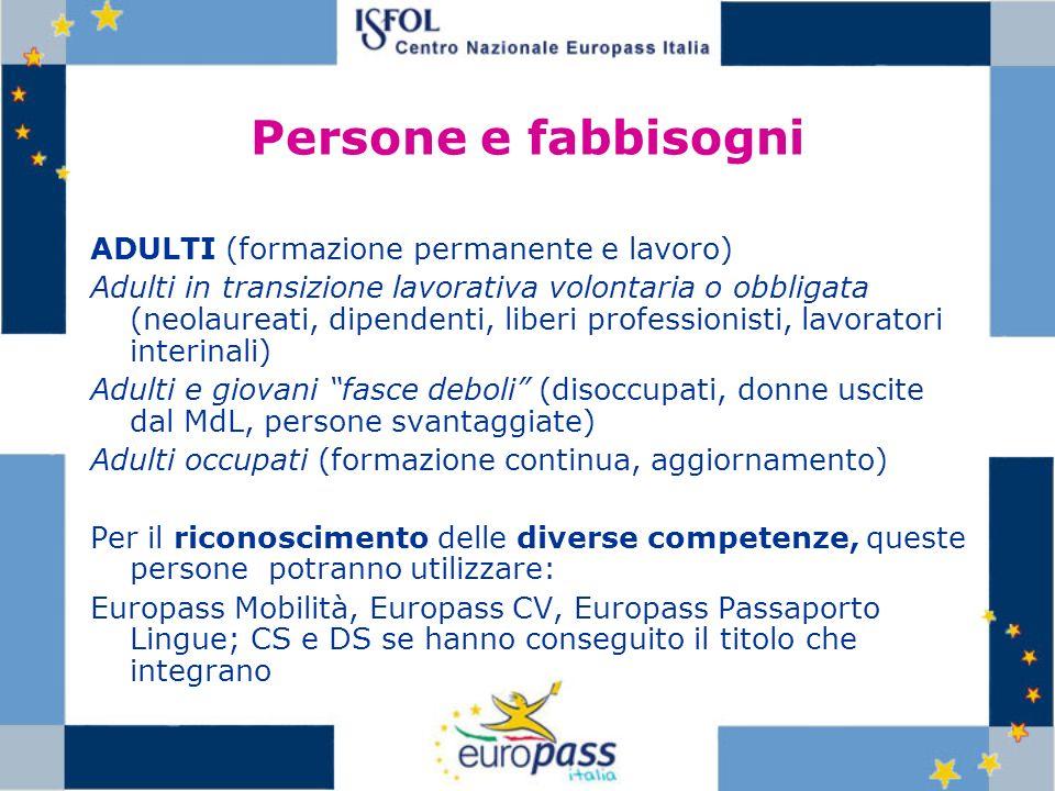 Persone e fabbisogni ADULTI (formazione permanente e lavoro) Adulti in transizione lavorativa volontaria o obbligata (neolaureati, dipendenti, liberi