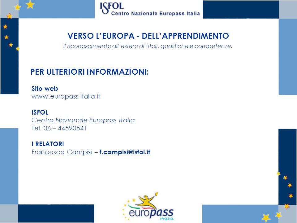 VERSO LEUROPA - DELLAPPRENDIMENTO Il riconoscimento allestero di titoli, qualifiche e competenze. PER ULTERIORI INFORMAZIONI: Sito web www.europass-it