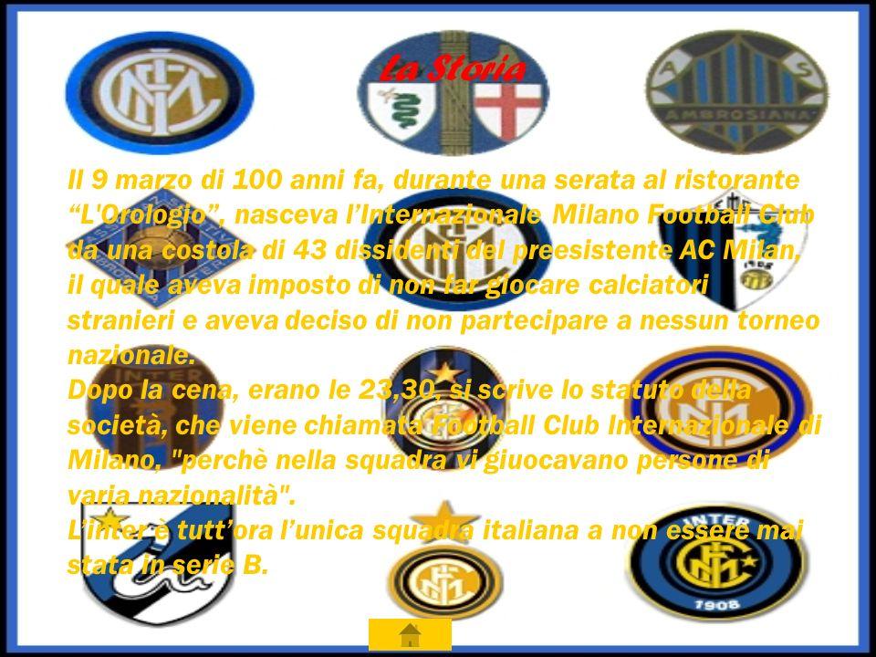 La Storia Il 9 marzo di 100 anni fa, durante una serata al ristorante L Orologio, nasceva lInternazionale Milano Football Club da una costola di 43 dissidenti del preesistente AC Milan, il quale aveva imposto di non far giocare calciatori stranieri e aveva deciso di non partecipare a nessun torneo nazionale.