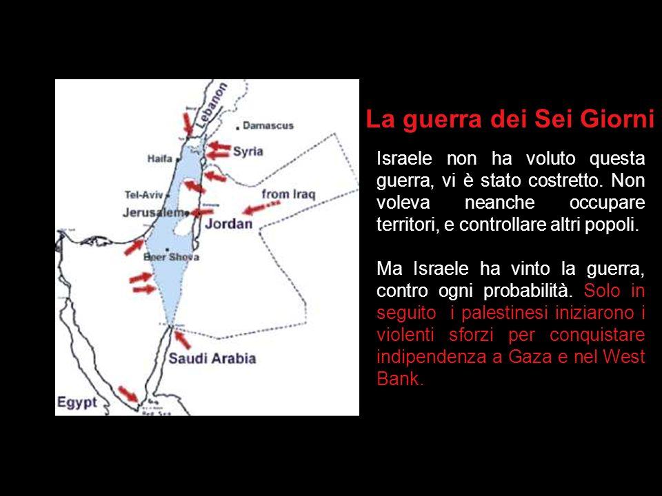 Uno stato palestinese? Osservazione: Prima della Guerra dei Sei Giorni, la Striscia di Gaza era sotto controllo egiziano, Giudea e Samaria (il West ba