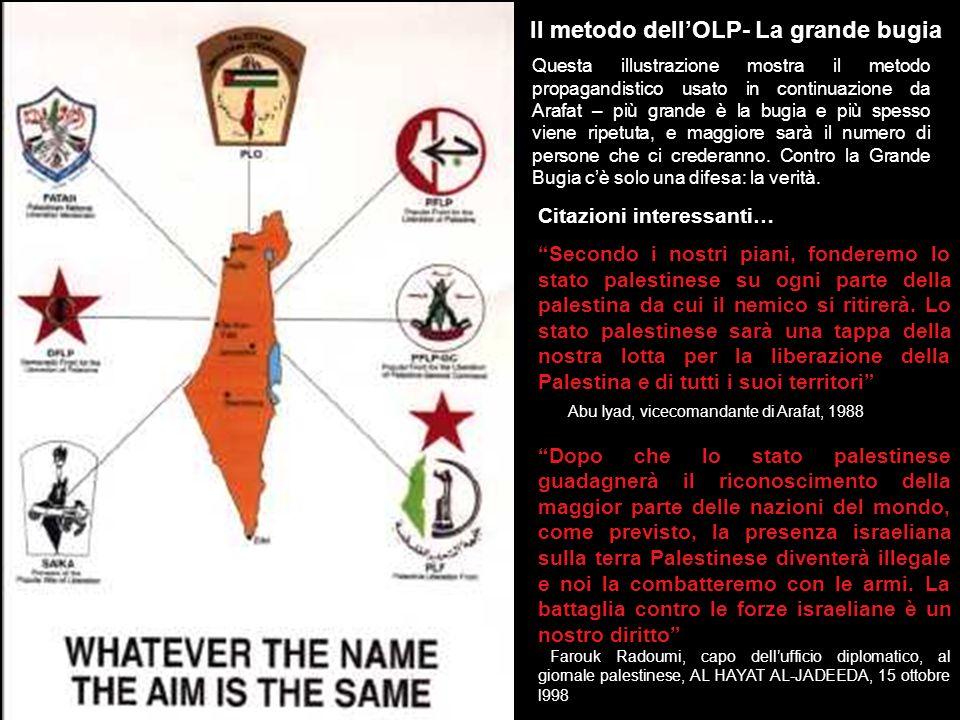 La vera mappa di Arafat Mentre parlava di una mappa immaginaria di Israele alla conferenza stampa di Ginevra, Arafat indossava unaltra mappa cucita su