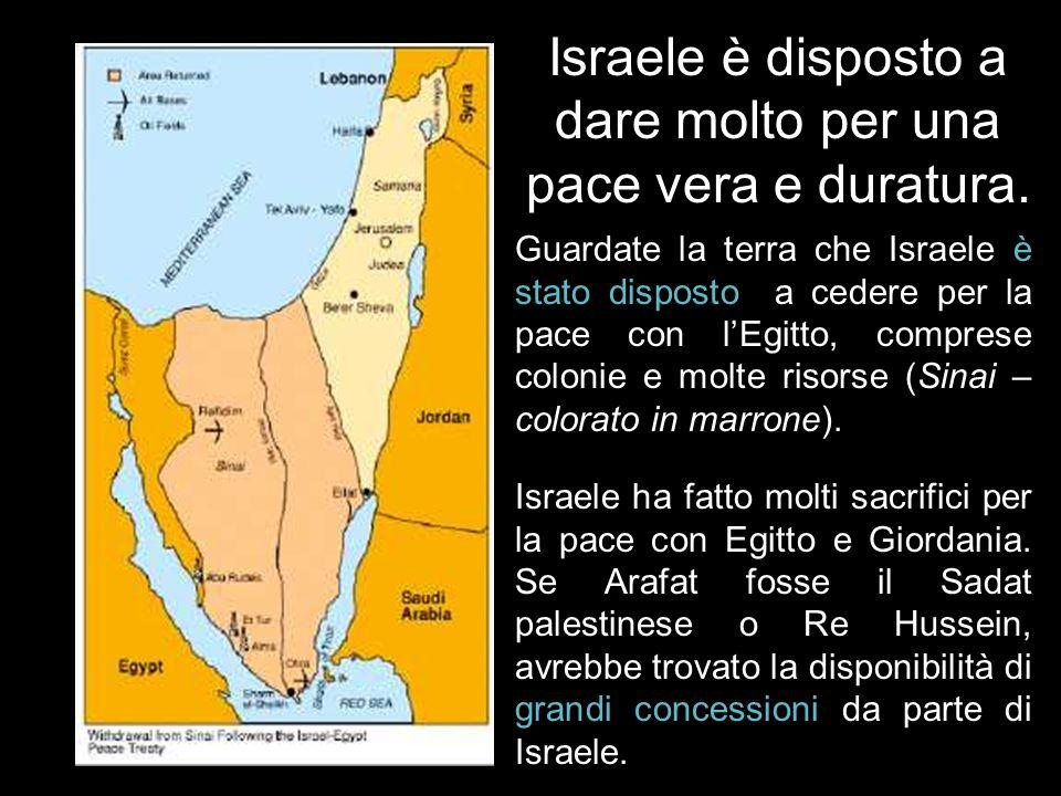 Israele è disposto a dare terra in cambio di pace? Pace fra Israele ed Egitto Pace fra Israele e Giordania