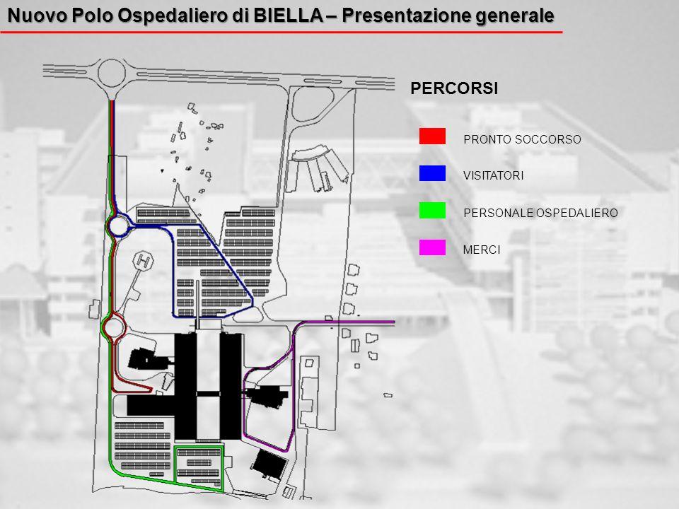 Nuovo Polo Ospedaliero di BIELLA – Presentazione generale PRONTO SOCCORSO VISITATORI PERSONALE OSPEDALIERO MERCI PERCORSI