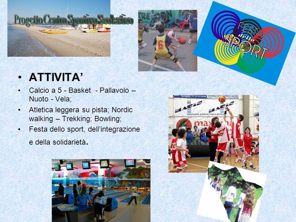 ATTIVITA Calcio a 5 - Basket - Pallavolo – Nuoto - Vela; Atletica leggera su pista; Nordic walking – Trekking; Bowling; Festa dello sport, dellintegra