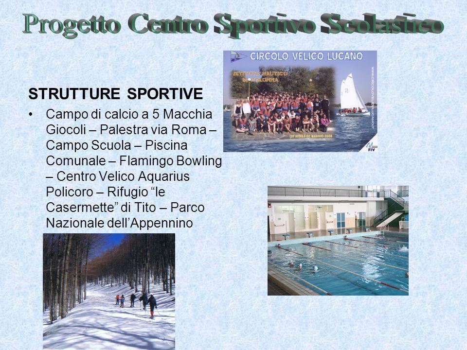 STRUTTURE SPORTIVE Campo di calcio a 5 Macchia Giocoli – Palestra via Roma – Campo Scuola – Piscina Comunale – Flamingo Bowling – Centro Velico Aquari