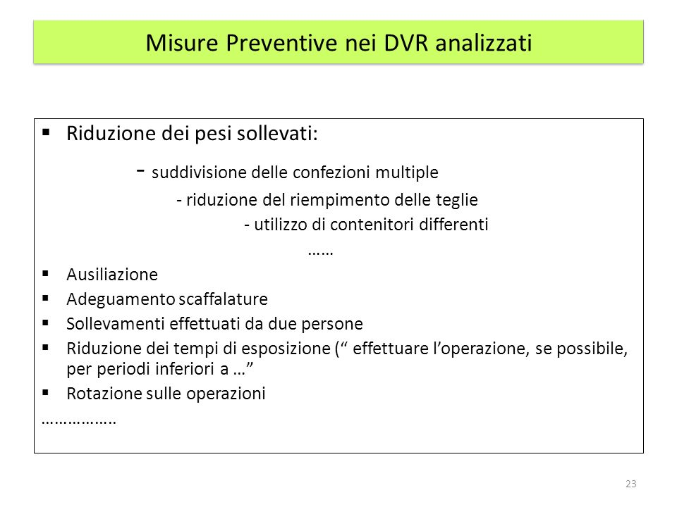 Misure Preventive nei DVR analizzati Riduzione dei pesi sollevati: - suddivisione delle confezioni multiple - riduzione del riempimento delle teglie -