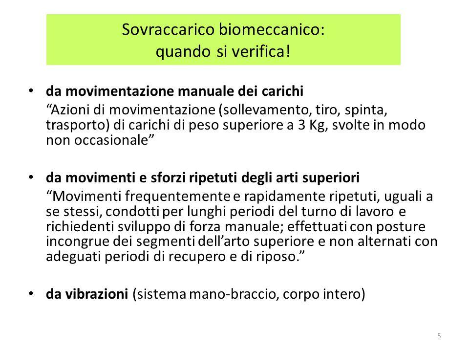 MOVIMENTAZIONE MANUALE DEI CARICHI: ELEMENTI DI RIFERIMENTO per il rischio di patologie da sovraccarico biomeccanico (D.Lgs.