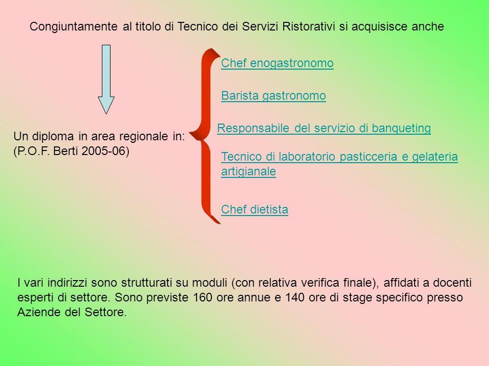 Congiuntamente al titolo di Tecnico dei Servizi Ristorativi si acquisisce anche Un diploma in area regionale in: (P.O.F. Berti 2005-06) Chef dietista