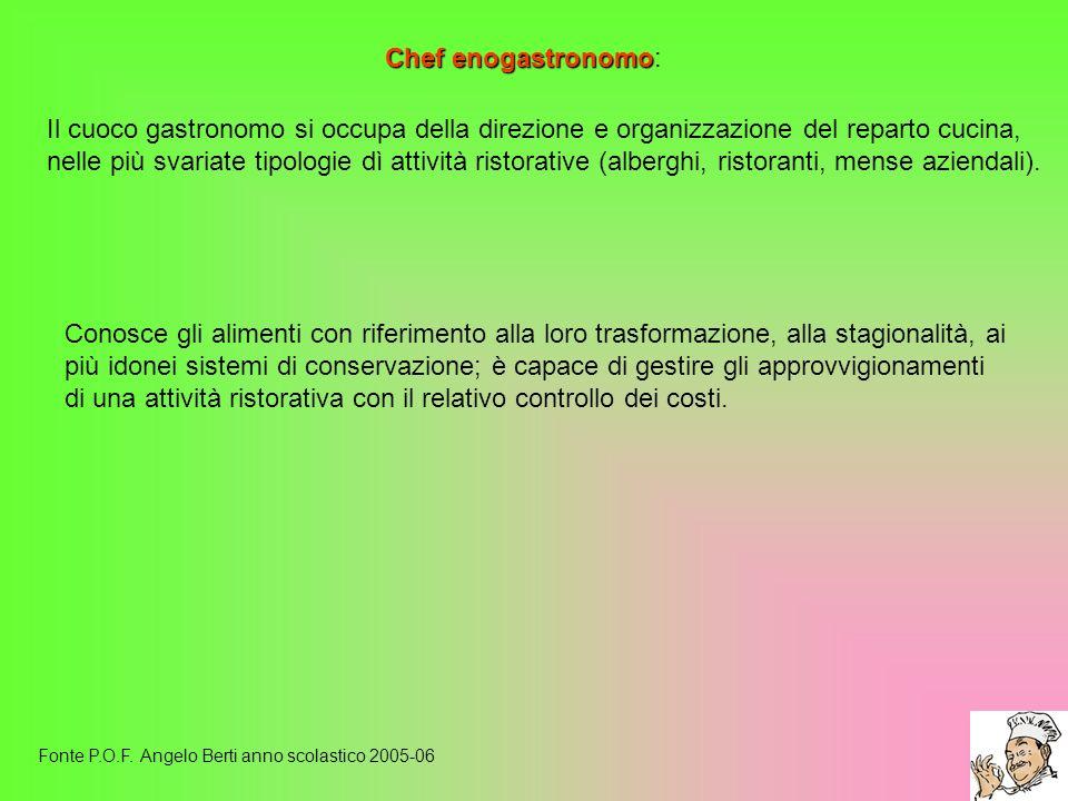 Chef enogastronomo Chef enogastronomo: Fonte P.O.F. Angelo Berti anno scolastico 2005-06 Il cuoco gastronomo si occupa della direzione e organizzazion