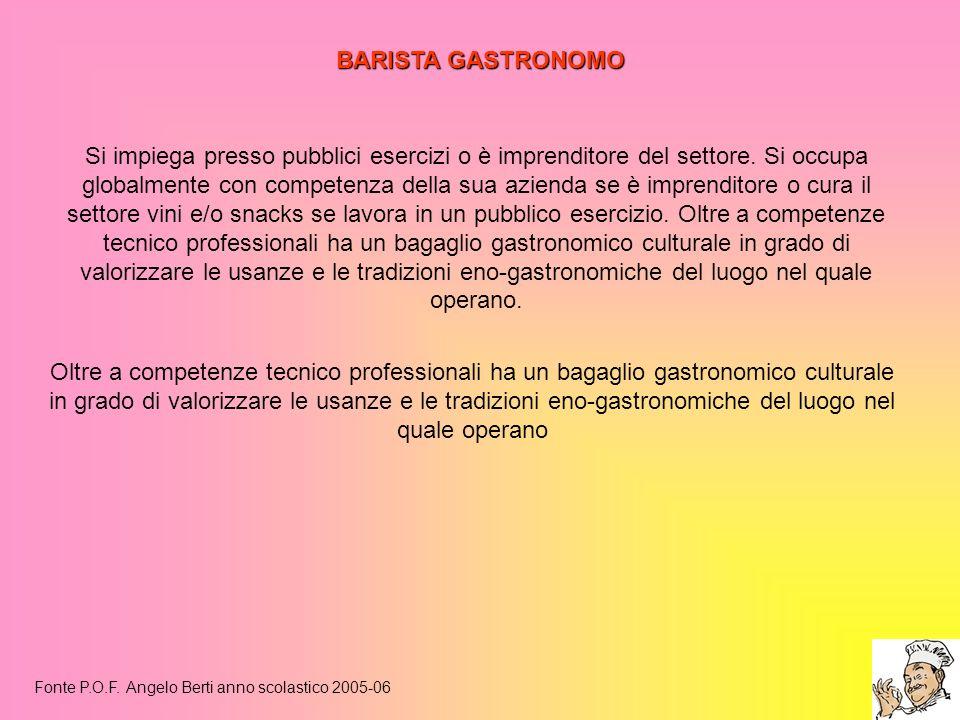 BARISTA GASTRONOMO Fonte P.O.F. Angelo Berti anno scolastico 2005-06 Si impiega presso pubblici esercizi o è imprenditore del settore. Si occupa globa
