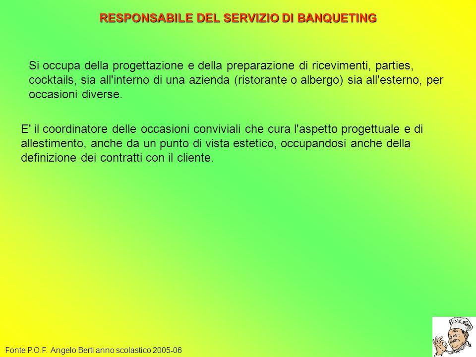 RESPONSABILE DEL SERVIZIO DI BANQUETING Fonte P.O.F. Angelo Berti anno scolastico 2005-06 Si occupa della progettazione e della preparazione di ricevi