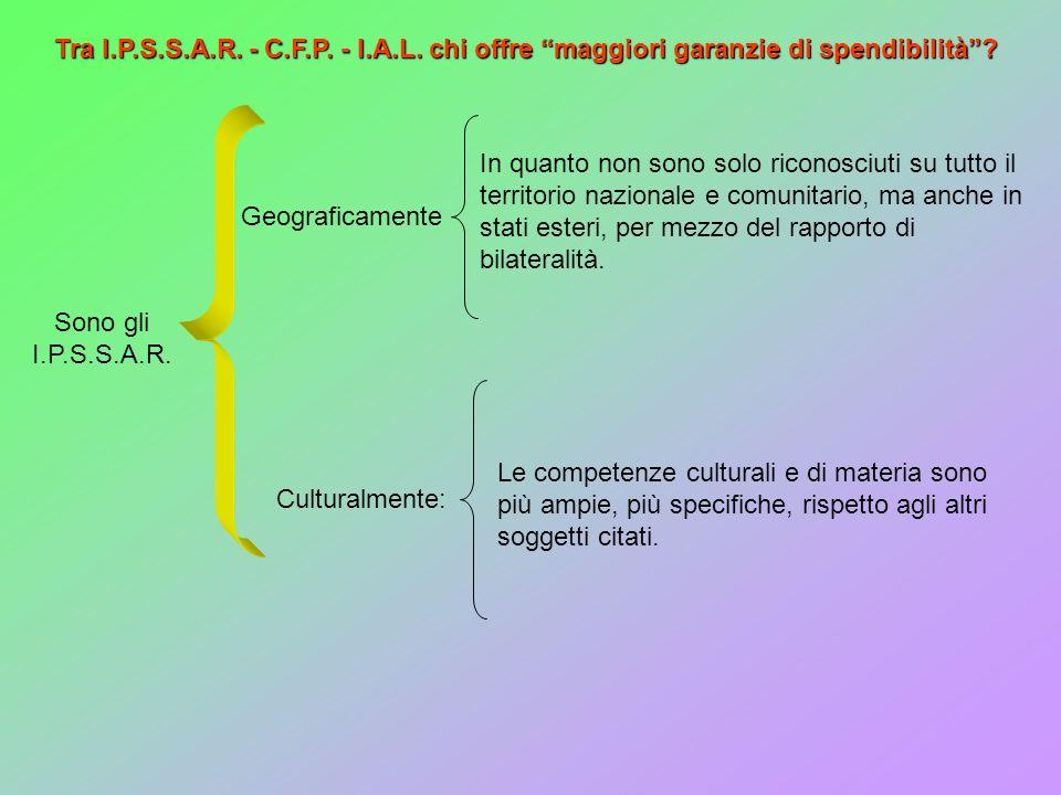 Tra I.P.S.S.A.R. - C.F.P. - I.A.L. chi offre maggiori garanzie di spendibilità? Sono gli I.P.S.S.A.R. Geograficamente Culturalmente: In quanto non son
