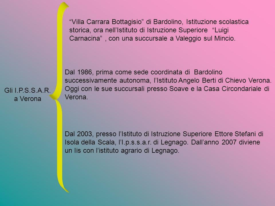 Gli I.P.S.S.A.R. a Verona Villa Carrara Bottagisio di Bardolino, Istituzione scolastica storica, ora nellIstituto di Istruzione Superiore Luigi Carnac