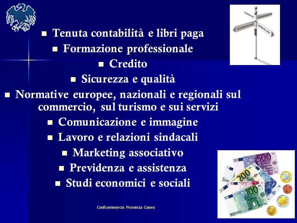 Confcommercio Provincia Cuneo Tenuta contabilità e libri paga Formazione professionale Credito Sicurezza e qualità Normative europee, nazionali e regi