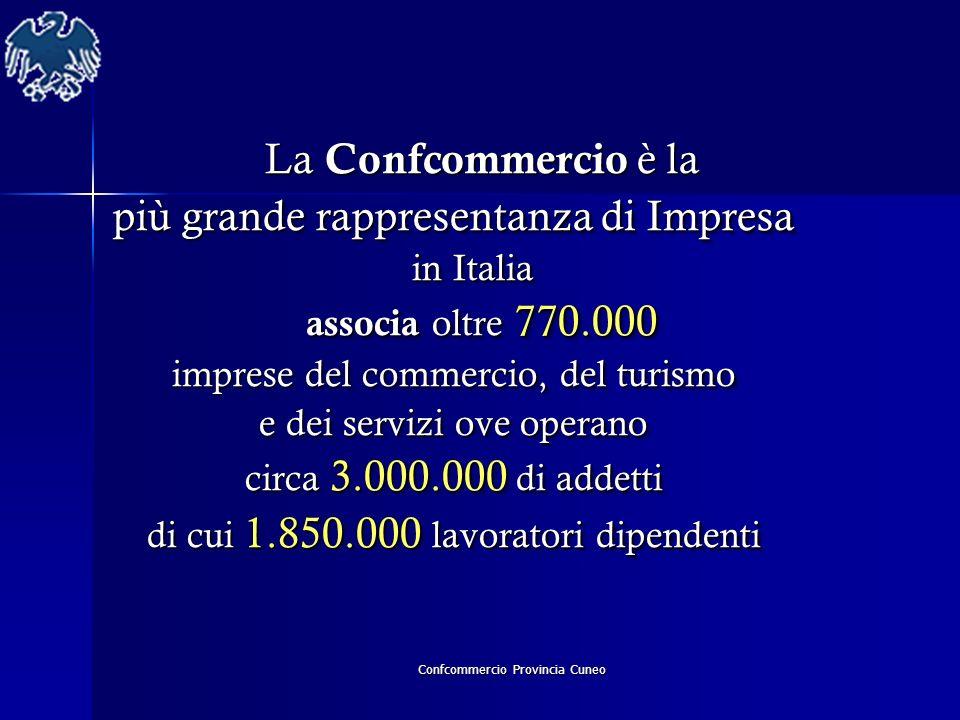 Confcommercio Provincia Cuneo La Confcommercio è la La Confcommercio è la più grande rappresentanza di Impresa in Italia in Italia associa oltre 770.0
