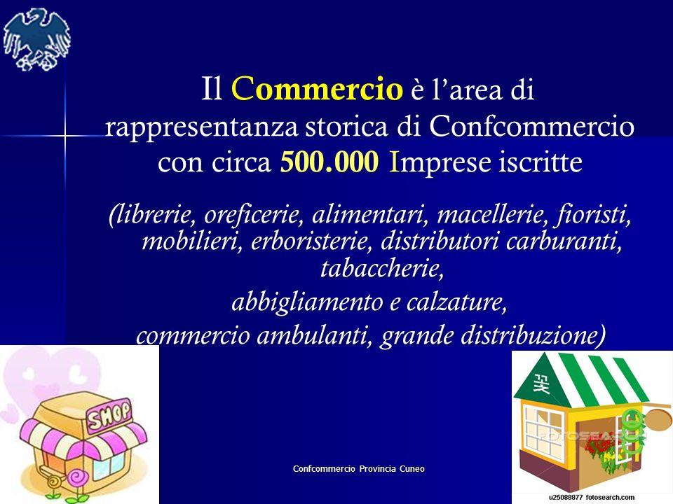 Confcommercio Provincia Cuneo Il C ommercio è larea di rappresentanza storica di Confcommercio con circa 500.000 Imprese iscritte (librerie, oreficeri