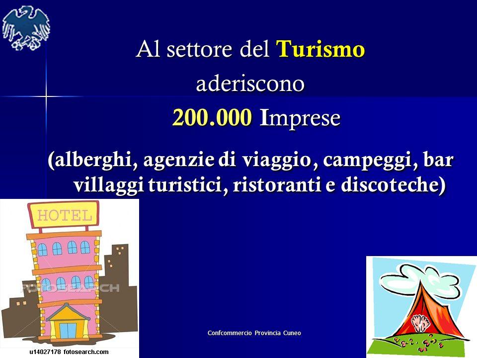 Confcommercio Provincia Cuneo Al settore del Turismo aderiscono 200.000 I mprese 200.000 I mprese (alberghi, agenzie di viaggio, campeggi, bar villagg