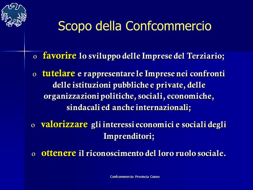 Confcommercio Provincia Cuneo Scopo della Confcommercio o favorire lo sviluppo delle Imprese del Terziario; o tutelare e rappresentare le Imprese nei