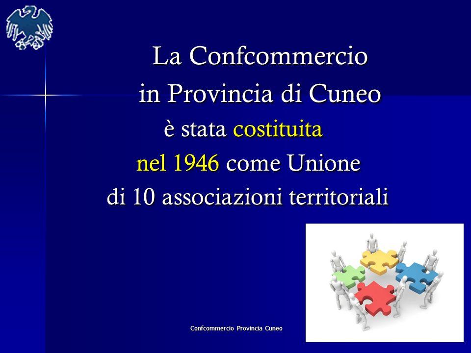 Confcommercio Provincia Cuneo La Confcommercio La Confcommercio in Provincia di Cuneo in Provincia di Cuneo è stata costituita è stata costituita nel