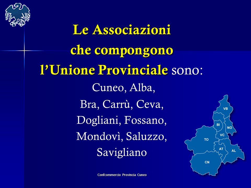 Confcommercio Provincia Cuneo Le Associazioni che compongono lUnione Provinciale lUnione Provinciale sono: Cuneo, Alba, Bra, Carrù, Ceva, Dogliani, Fo