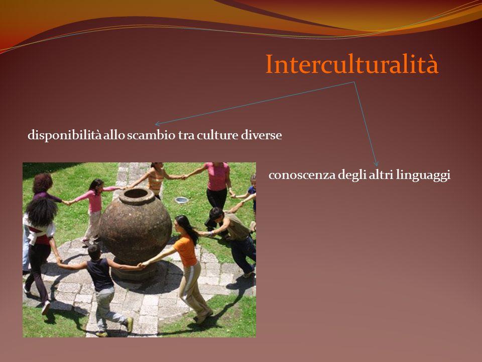 disponibilità allo scambio tra culture diverse Interculturalità conoscenza degli altri linguaggi