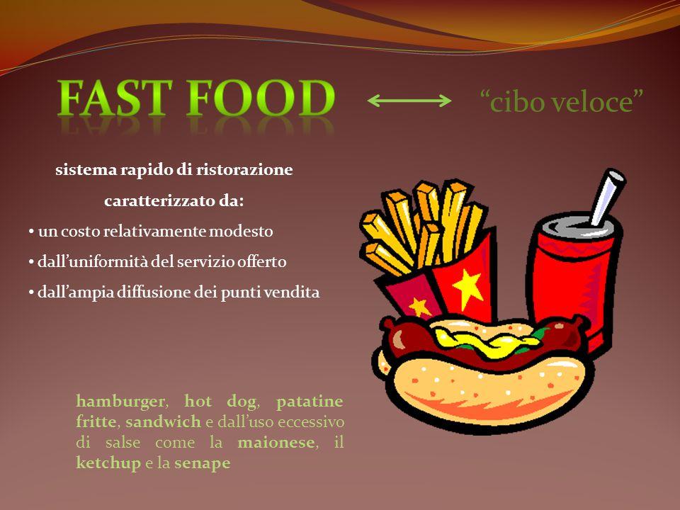 cibo veloce sistema rapido di ristorazione caratterizzato da: un costo relativamente modesto dalluniformità del servizio offerto dallampia diffusione