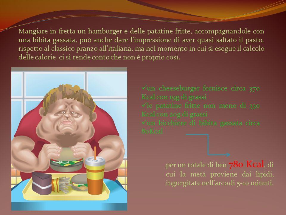 Mangiare in fretta un hamburger e delle patatine fritte, accompagnandole con una bibita gassata, può anche dare limpressione di aver quasi saltato il