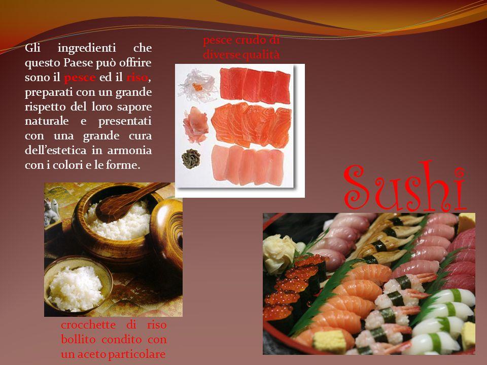 Gli ingredienti che questo Paese può offrire sono il pesce ed il riso, preparati con un grande rispetto del loro sapore naturale e presentati con una