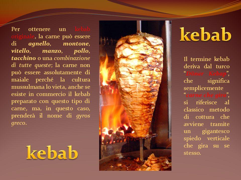 Il termine kebab deriva dal turcoDöner Kebap, che significa semplicementecarne che gira, si riferisce al classico metodo di cottura che avviene tramit