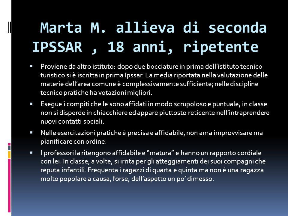 Marta M. allieva di seconda IPSSAR, 18 anni, ripetente Proviene da altro istituto: dopo due bocciature in prima dellistituto tecnico turistico si è is