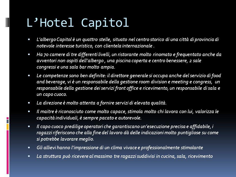 LHotel Capitol Lalbergo Capitol è un quattro stelle, situato nel centro storico di una città di provincia di notevole interesse turistico, con cliente