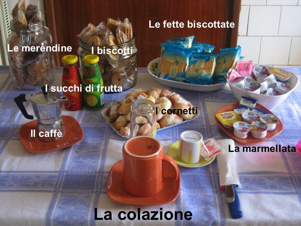 La colazione La marmellata Le fette biscottate Il caffè I biscotti I cornetti Le merendine I succhi di frutta