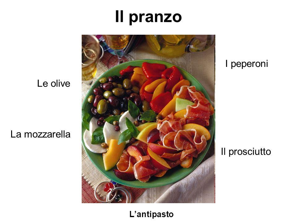 Il pranzo Lantipasto Le olive I peperoni La mozzarella Il prosciutto