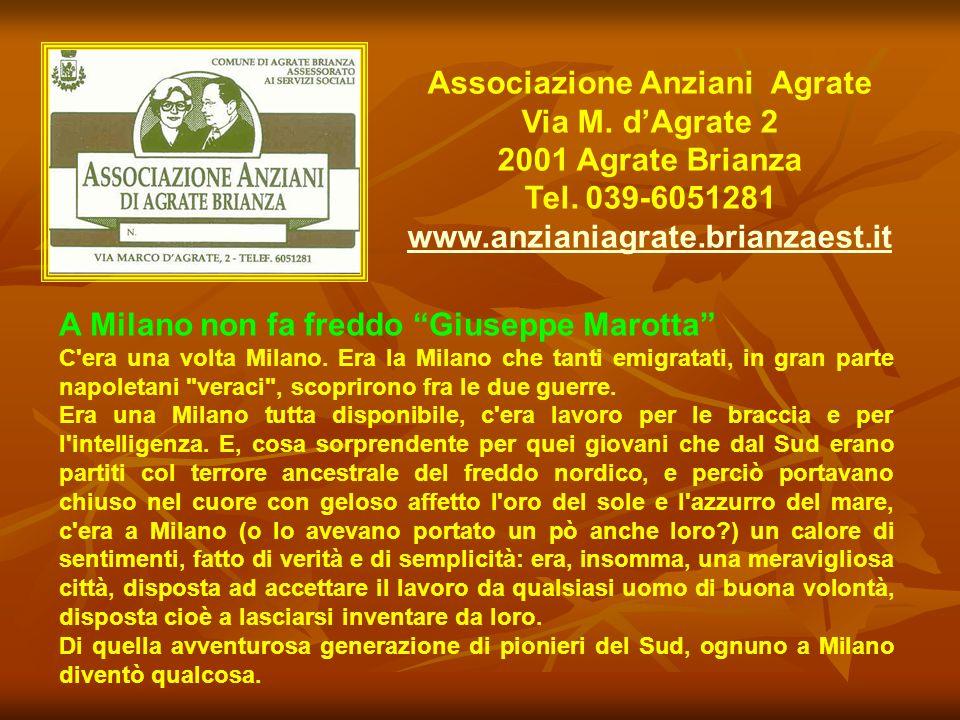 Associazione Anziani Agrate Via M. dAgrate 2 2001 Agrate Brianza Tel. 039-6051281 www.anzianiagrate.brianzaest.it A Milano non fa freddo Giuseppe Maro