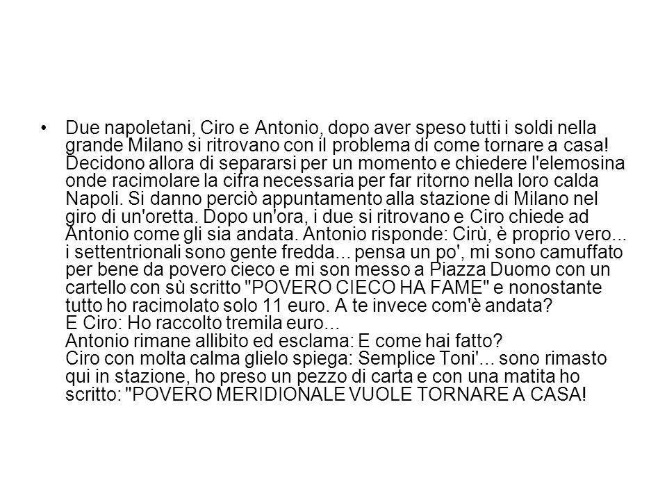 Due napoletani, Ciro e Antonio, dopo aver speso tutti i soldi nella grande Milano si ritrovano con il problema di come tornare a casa! Decidono allora
