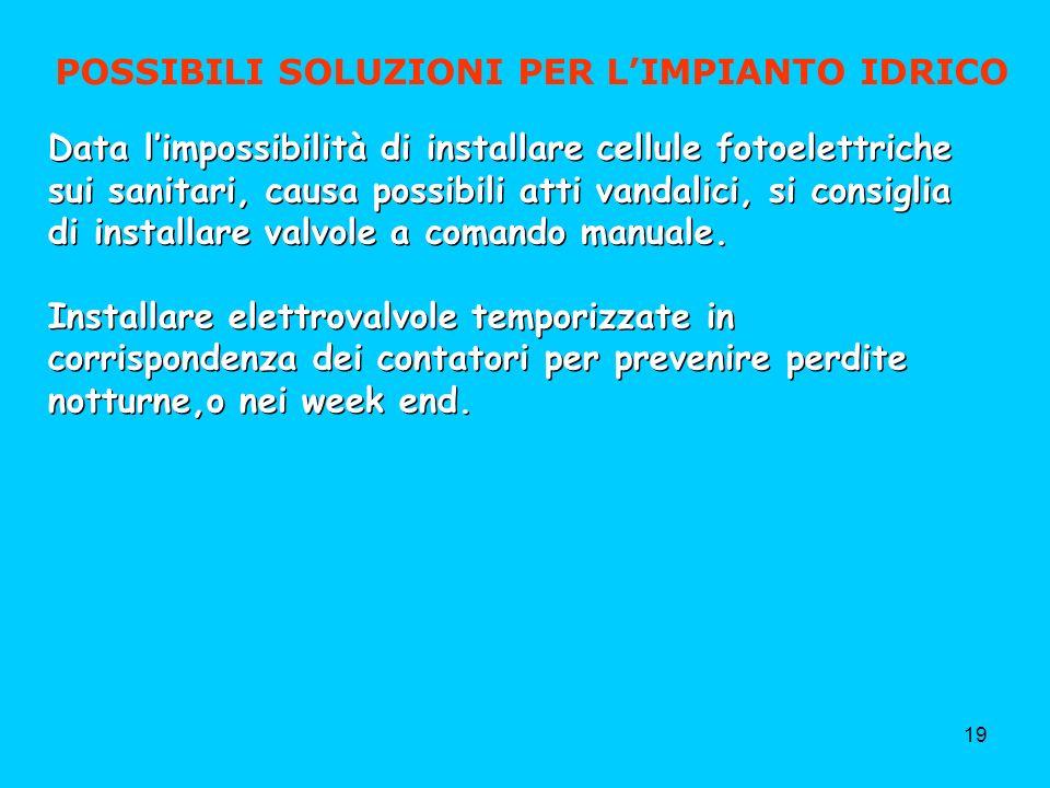 19 POSSIBILI SOLUZIONI PER LIMPIANTO IDRICO Data limpossibilità di installare cellule fotoelettriche sui sanitari, causa possibili atti vandalici, si consiglia di installare valvole a comando manuale.
