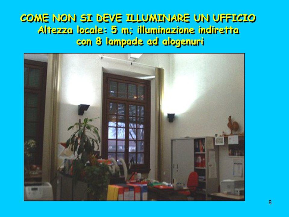 8 COME NON SI DEVE ILLUMINARE UN UFFICIO Altezza locale: 5 m; illuminazione indiretta con 8 lampade ad alogenuri