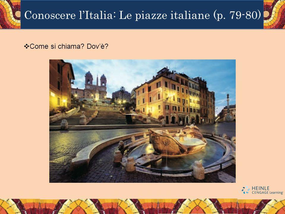 Conoscere lItalia: Le piazze italiane (p. 79-80) Come si chiama? Dovè?