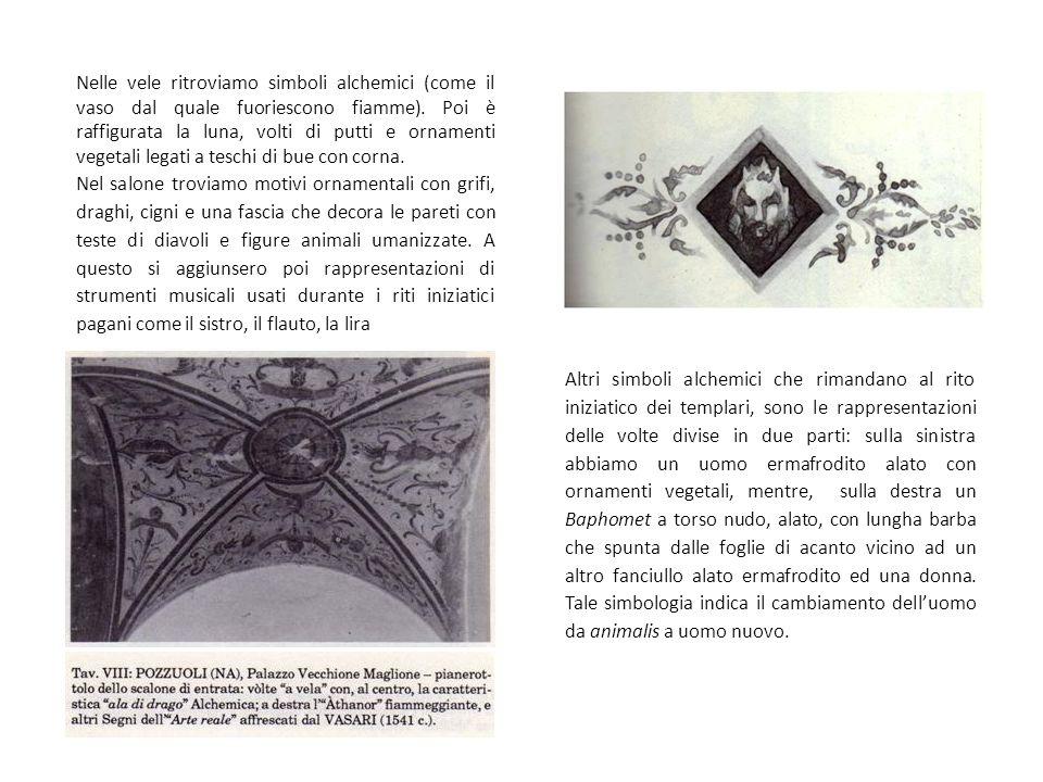 Nelle vele ritroviamo simboli alchemici (come il vaso dal quale fuoriescono fiamme). Poi è raffigurata la luna, volti di putti e ornamenti vegetali le