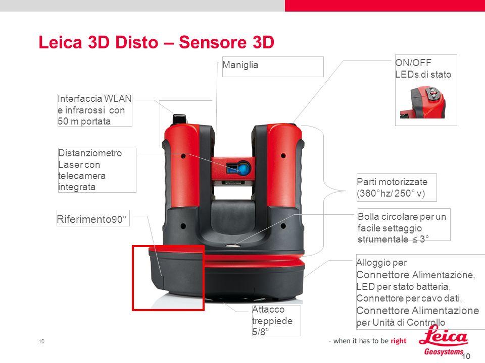 10 Leica 3D Disto – Sensore 3D 10 Parti motorizzate (360°hz/ 250° v) Maniglia Bolla circolare per un facile settaggio strumentale 3° ON/OFF LEDs di st