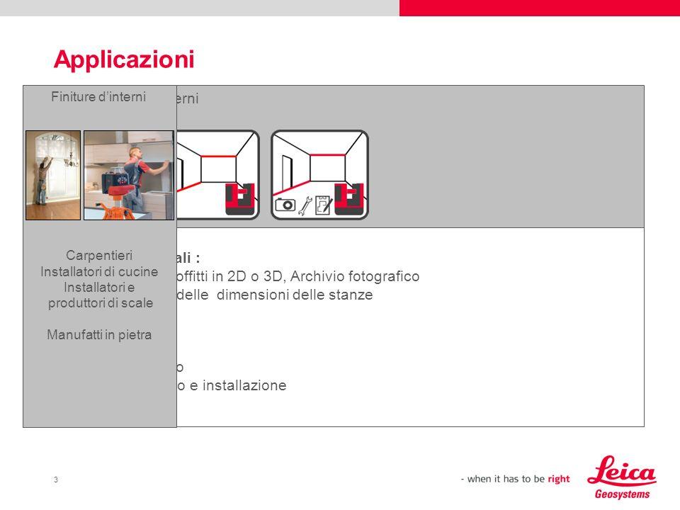 3 Applicazioni Finiture dinterni Necessità principali : Misurare Stanze, soffitti in 2D o 3D, Archivio fotografico Misure di controllo delle dimension
