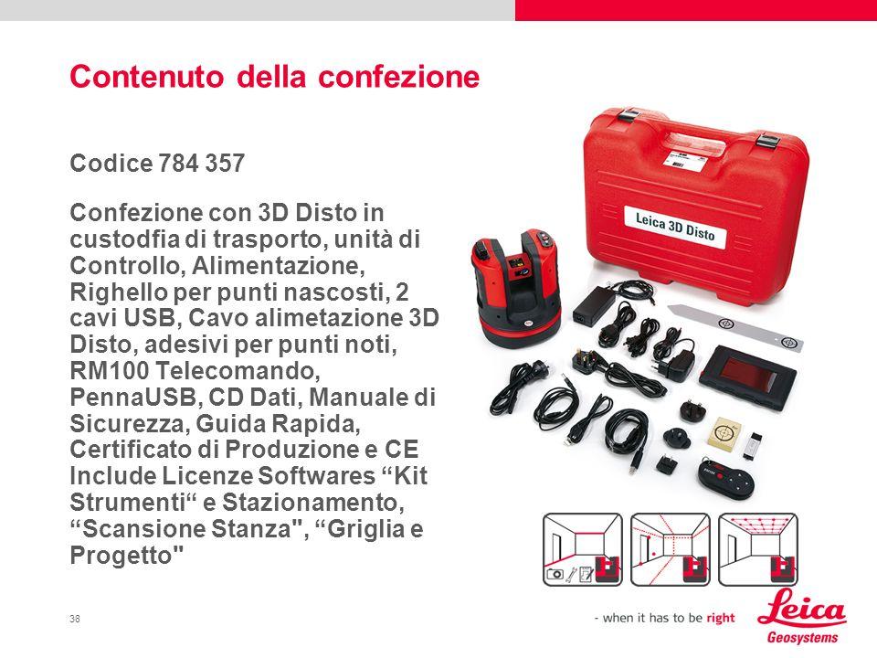 38 Contenuto della confezione Codice 784 357 Confezione con 3D Disto in custodfia di trasporto, unità di Controllo, Alimentazione, Righello per punti