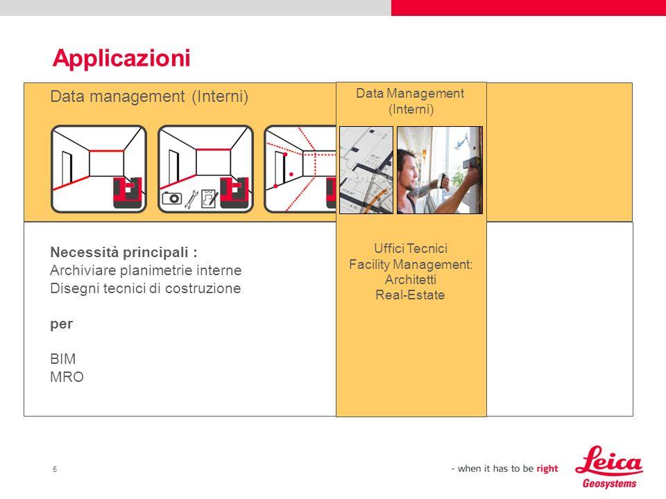 5 Applicazioni Data management (Interni) Necessità principali : Archiviare planimetrie interne Disegni tecnici di costruzione per BIM MRO Data Managem