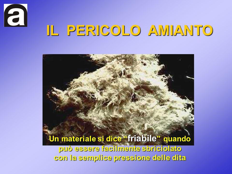 Un materiale si dice friabile quando può essere facilmente sbriciolato con la semplice pressione delle dita IL PERICOLO AMIANTO