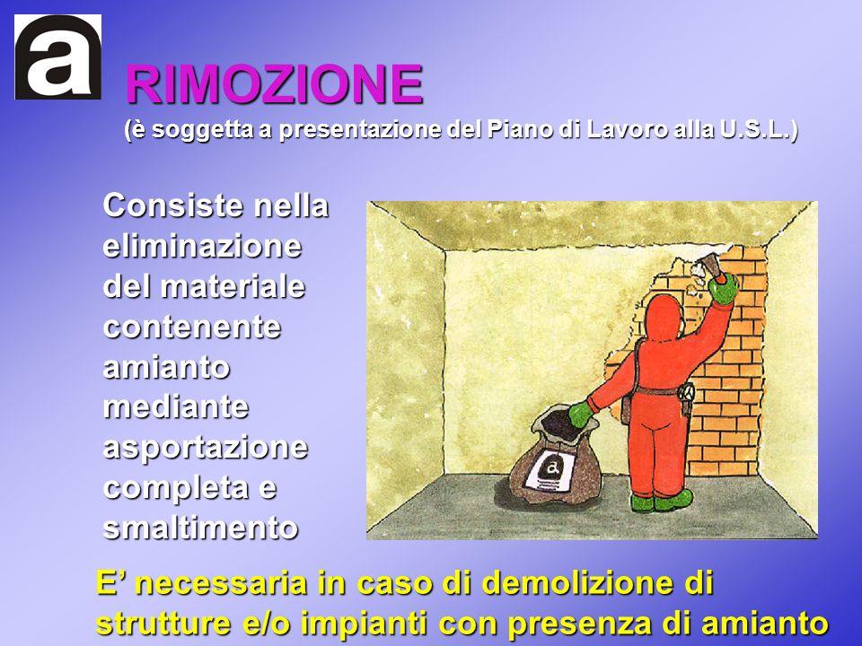 RIMOZIONE (è soggetta a presentazione del Piano di Lavoro alla U.S.L.) Consiste nella eliminazione del materiale contenente amianto mediante asportazi