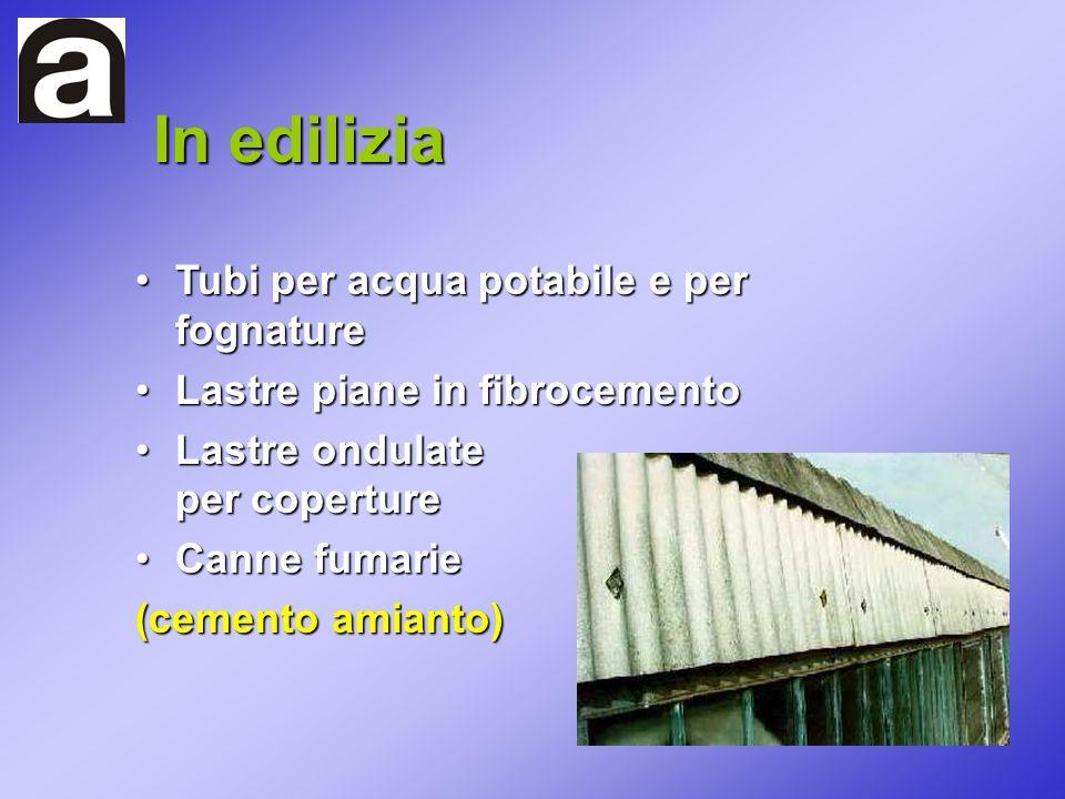 Tubi per acqua potabile e per fognatureTubi per acqua potabile e per fognature Lastre piane in fibrocementoLastre piane in fibrocemento Lastre ondulat