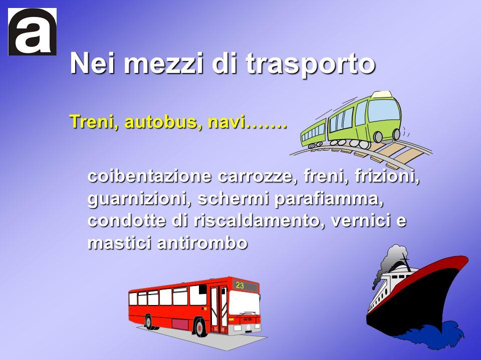 Nei mezzi di trasporto Treni, autobus, navi……. coibentazione carrozze, freni, frizioni, guarnizioni, schermi parafiamma, condotte di riscaldamento, ve