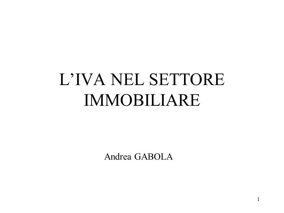 1 LIVA NEL SETTORE IMMOBILIARE Andrea GABOLA
