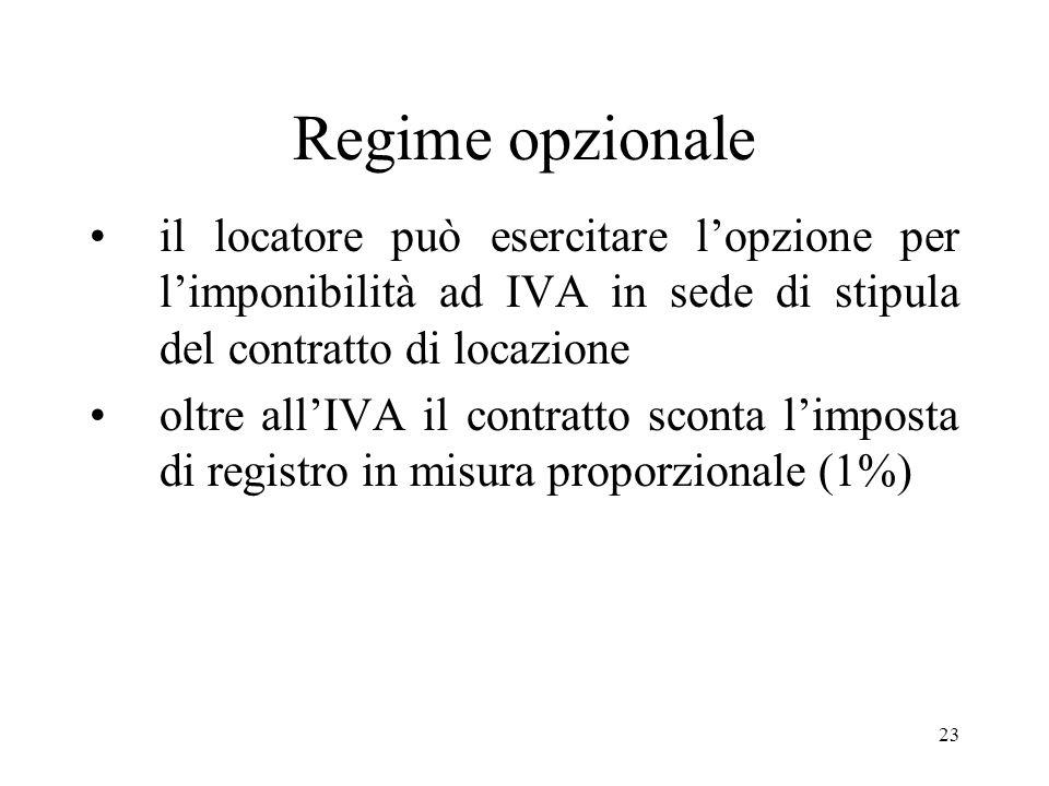23 Regime opzionale il locatore può esercitare lopzione per limponibilità ad IVA in sede di stipula del contratto di locazione oltre allIVA il contratto sconta limposta di registro in misura proporzionale (1%)