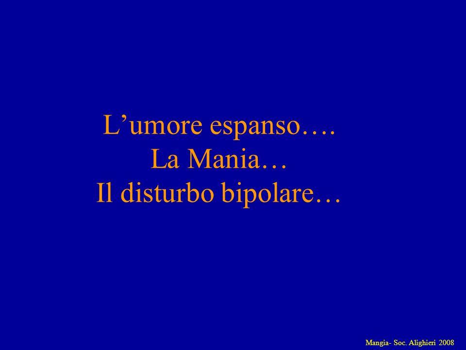 Mangia- Soc. Alighieri 2008 Lumore espanso…. La Mania… Il disturbo bipolare…